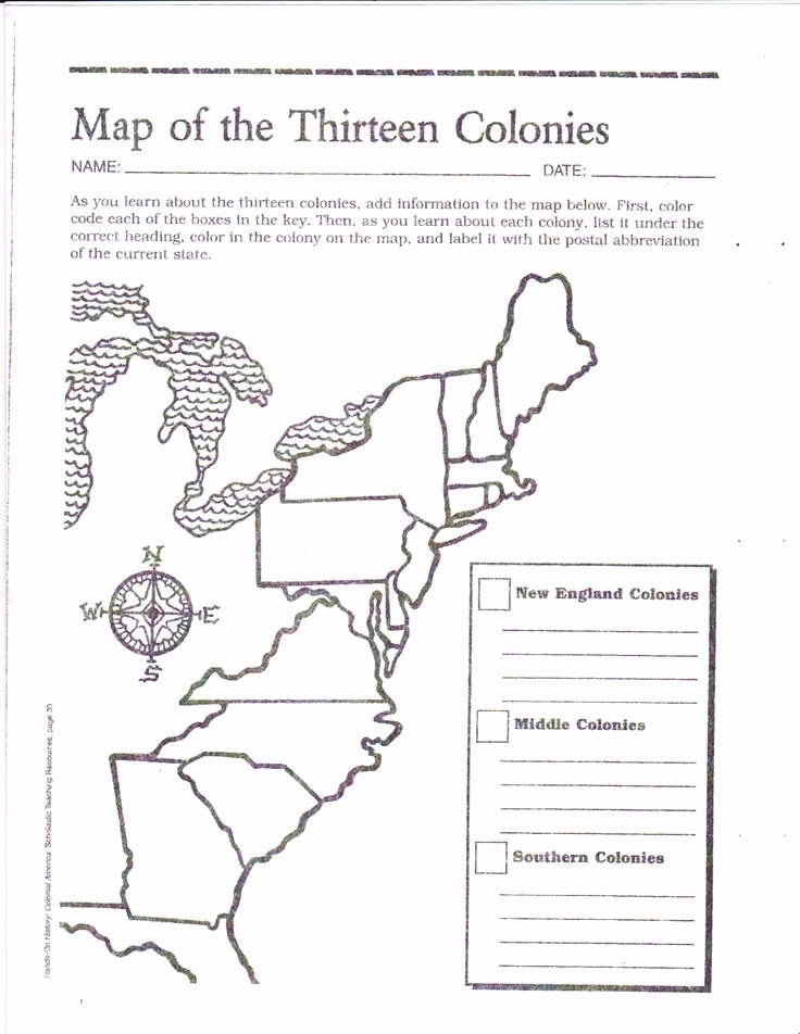 13 Colonies Map Worksheet New Free Printable 13 Colonies Map