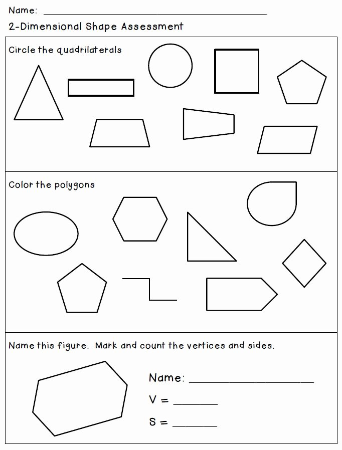 2 Dimensional Shapes Worksheet Awesome attributes Of 2 Dimensional Shapes Classroom Freebies