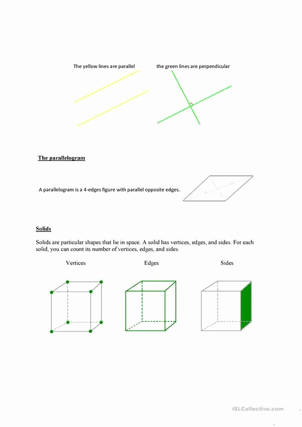 2 Dimensional Shapes Worksheet Awesome Two and Three Dimensional Shapes Worksheet Free Esl