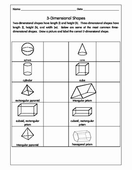 2 Dimensional Shapes Worksheet Beautiful 3 Dimensional Shapes Activity Pack Worksheets by E