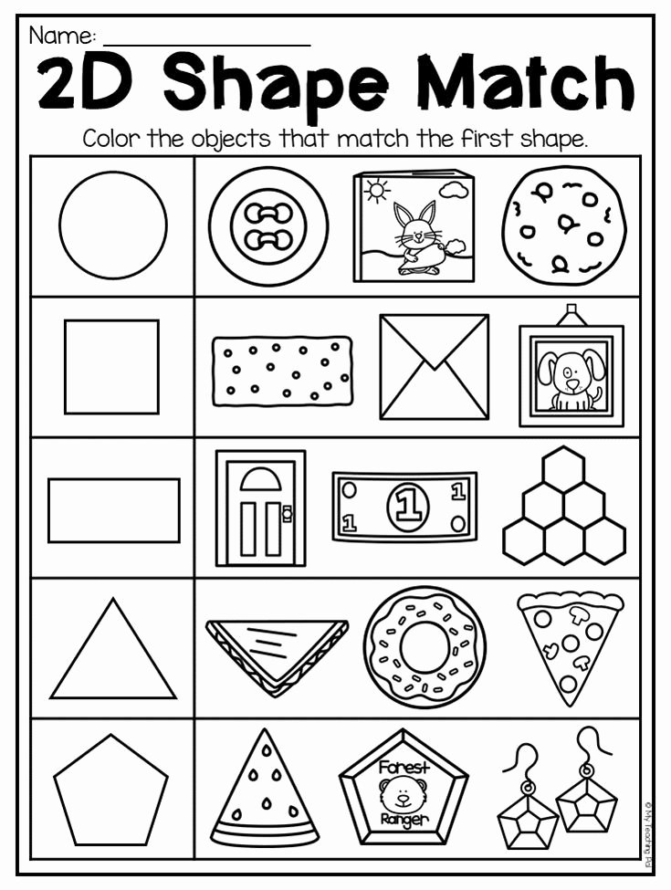 2 Dimensional Shapes Worksheet Elegant Kindergarten 2d and 3d Shapes Worksheets