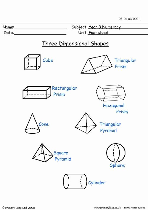 2 Dimensional Shapes Worksheet Fresh Three Dimensional Shapes 3 D