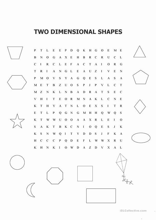 2 Dimensional Shapes Worksheet Fresh Two Dimensional Shapes Word Search Worksheet Free Esl