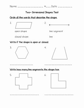 2 Dimensional Shapes Worksheet Inspirational Two Dimensional Shapes Test Go Math Chapter 12 3rd Grade
