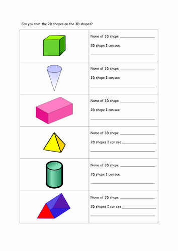 2 Dimensional Shapes Worksheet Luxury Identify 2d Shapes as Faces On 3d Shapes by Karenstanton