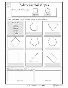 2 Dimensional Shapes Worksheet Unique 2 Dimensional Shapes Naming Shapes Worksheet for 1st