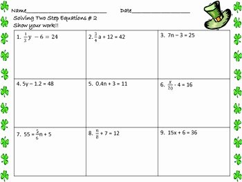 2 Step Equations Worksheet Elegant solving Two Step Equations Worksheets St Patrick S Day by
