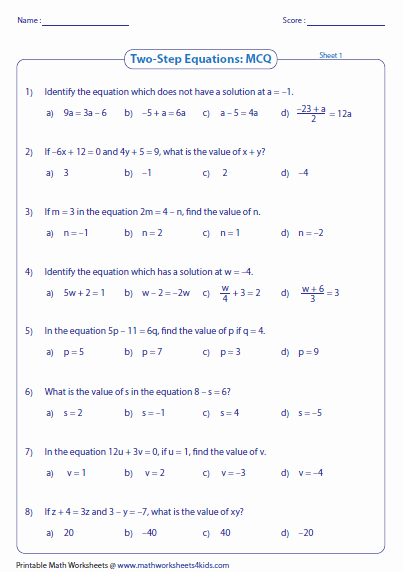 2 Step Equations Worksheet Elegant Two Step Equation Worksheets
