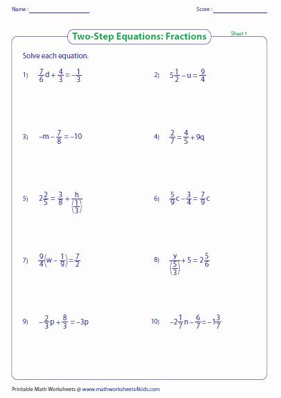 2 Step Equations Worksheet Lovely Two Step Equation Worksheets