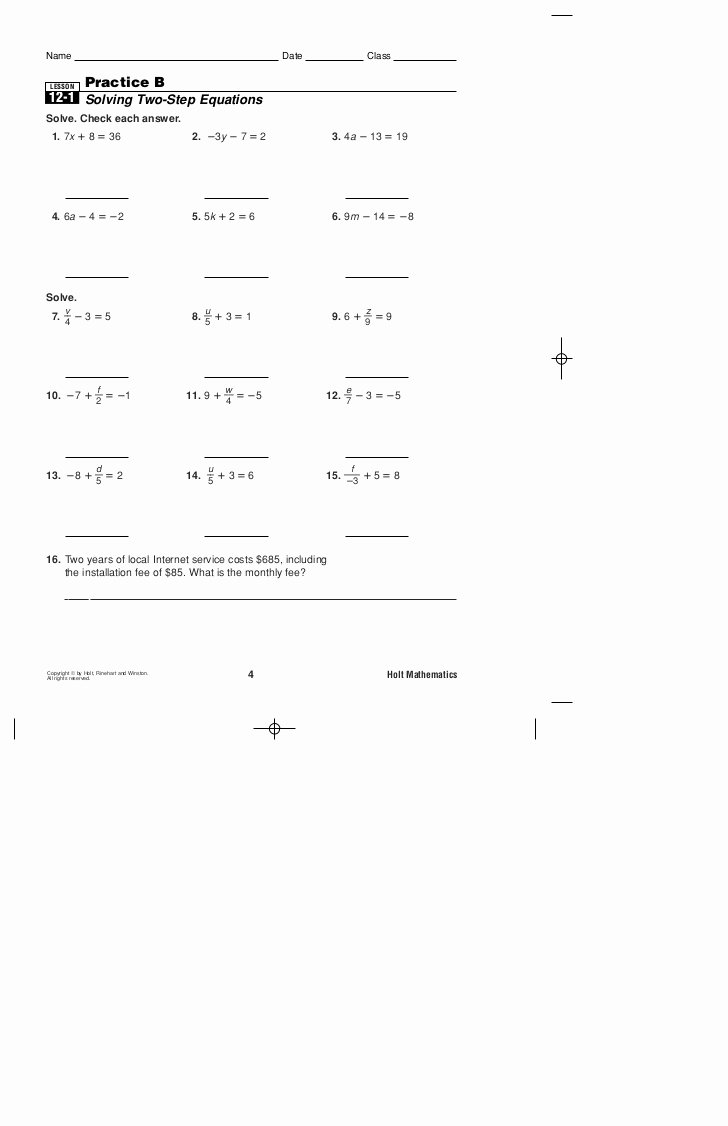 2 Step Equations Worksheet Luxury Practice B 2 Step Equations