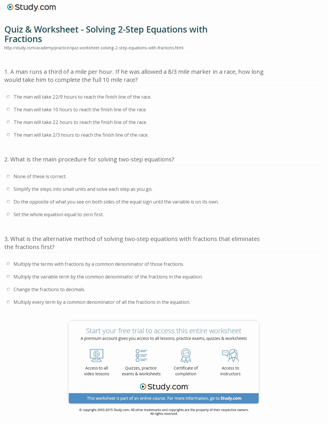 2 Step Equations Worksheet Luxury Quiz & Worksheet solving 2 Step Equations with Fractions