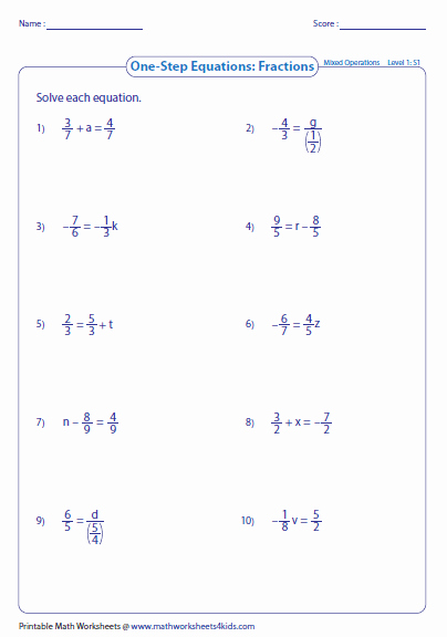 2 Step Equations Worksheet New E Step Equation Worksheets