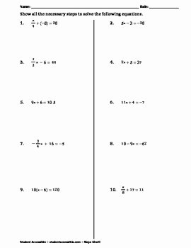 2 Step Equations Worksheet New solving Two Step Equations Practice Worksheet Ii by Maya