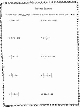2 Step Equations Worksheet Unique solving Two Step Equations Worksheet