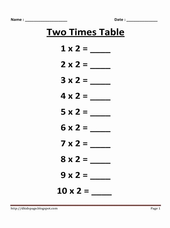 2 Times Table Worksheet Fresh Kids Page 2 Times Multiplication Table Worksheet