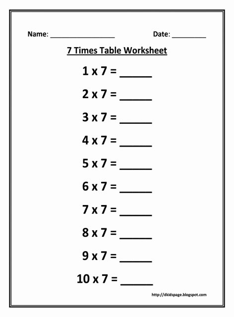 2 Times Table Worksheet Fresh Kids Page 7 Times Multiplication Table Worksheet