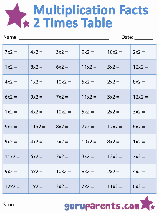 2 Times Table Worksheet Fresh Multiplication Facts Worksheets