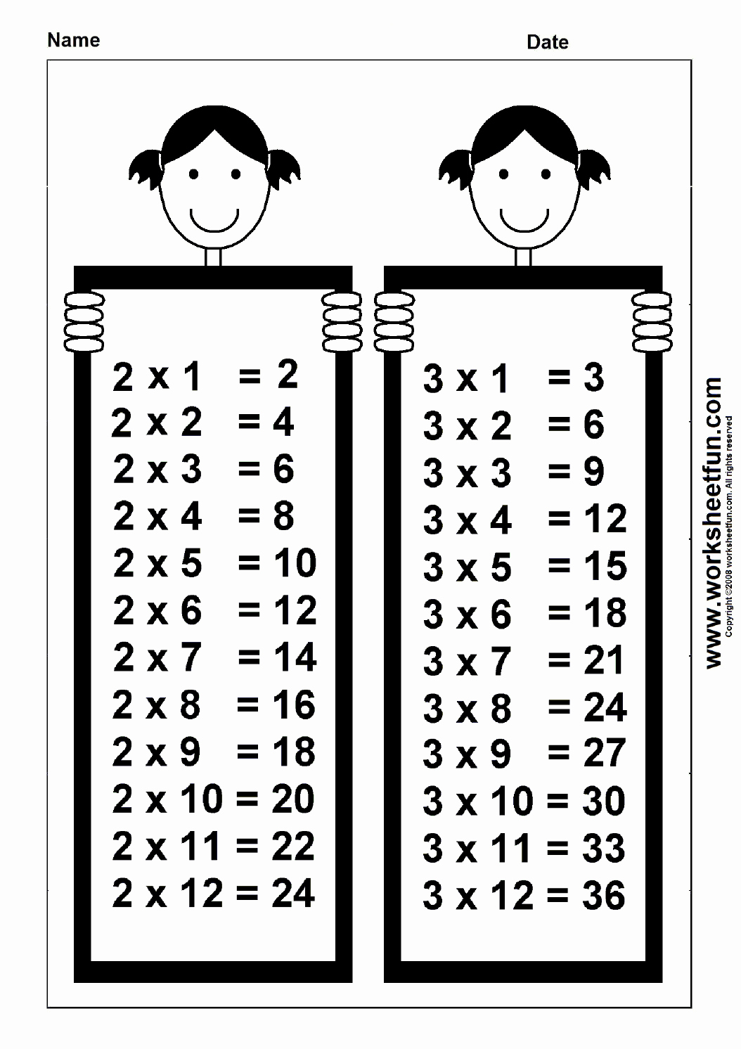 2 Times Table Worksheet Fresh Times Table Chart – 2 & 3 Free Printable Worksheets