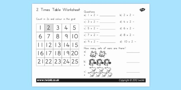 2 Times Table Worksheet Fresh Two Times Table Worksheet Two Times Table Worksheet