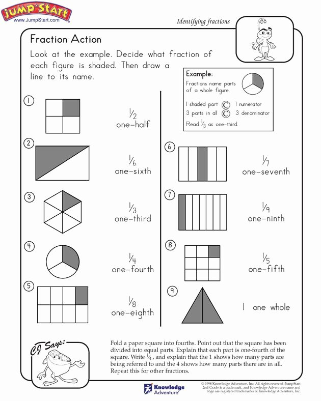 "2nd Grade Fractions Worksheet Elegant ""fraction Action"" – 2nd Grade Math Worksheets Jumpstart"