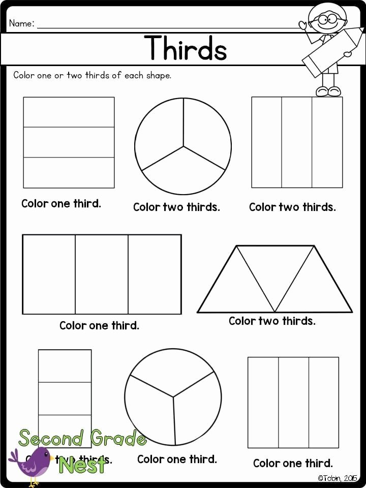 2nd Grade Fractions Worksheet Inspirational Fractions Printables Math