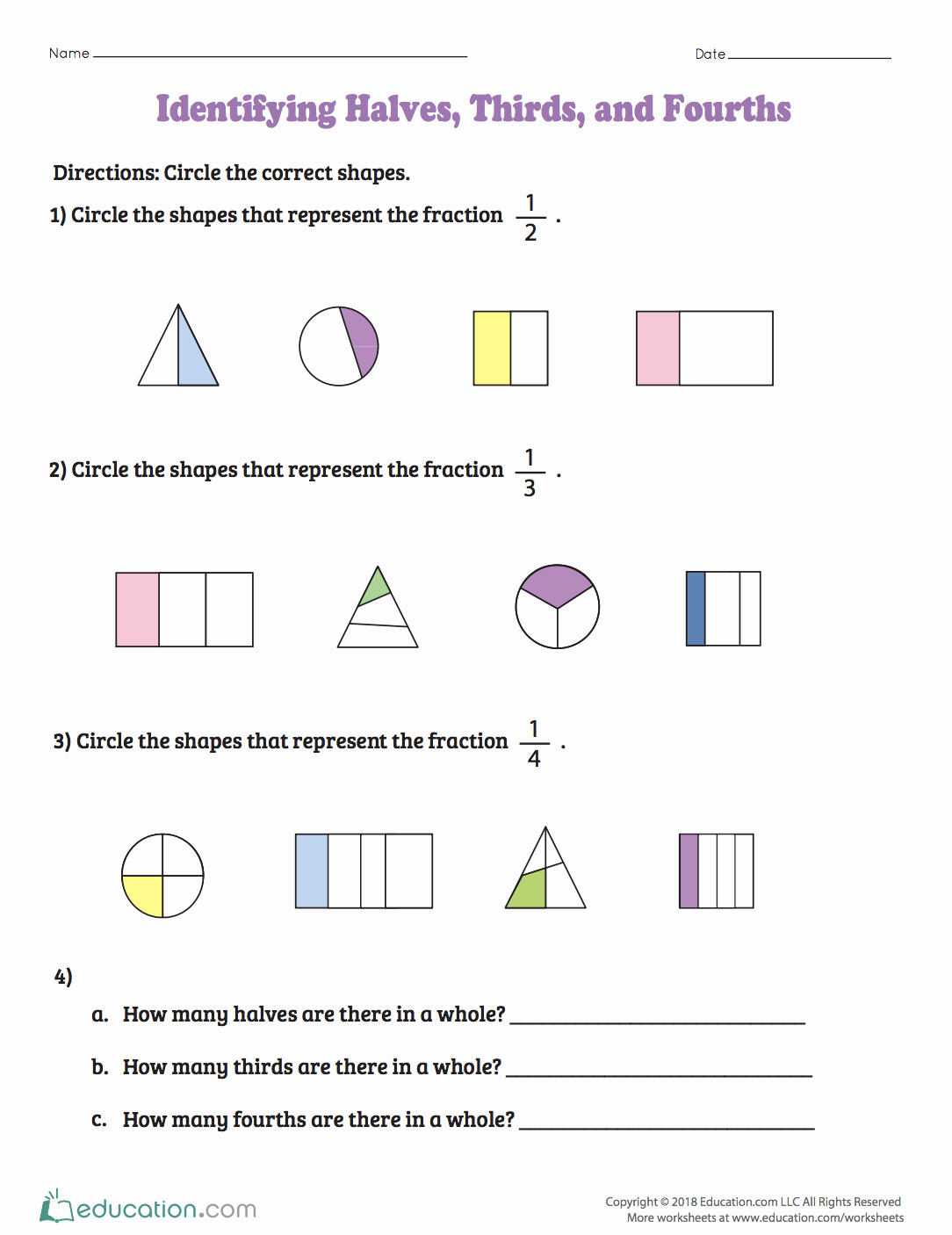 2nd Grade Fractions Worksheet Inspirational Identifying Halves Thirds and Fourths