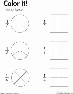 2nd Grade Fractions Worksheet New Fraction Practice Color It Worksheet
