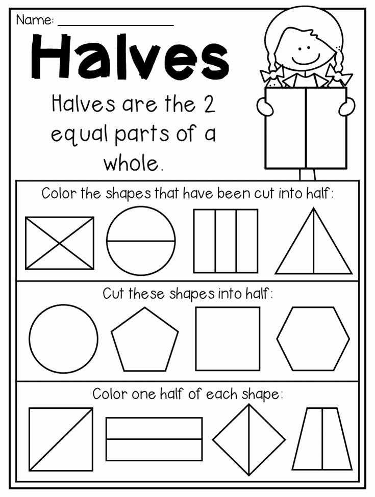 2nd Grade Fractions Worksheet Unique First Grade Fractions and Partitioning Worksheets
