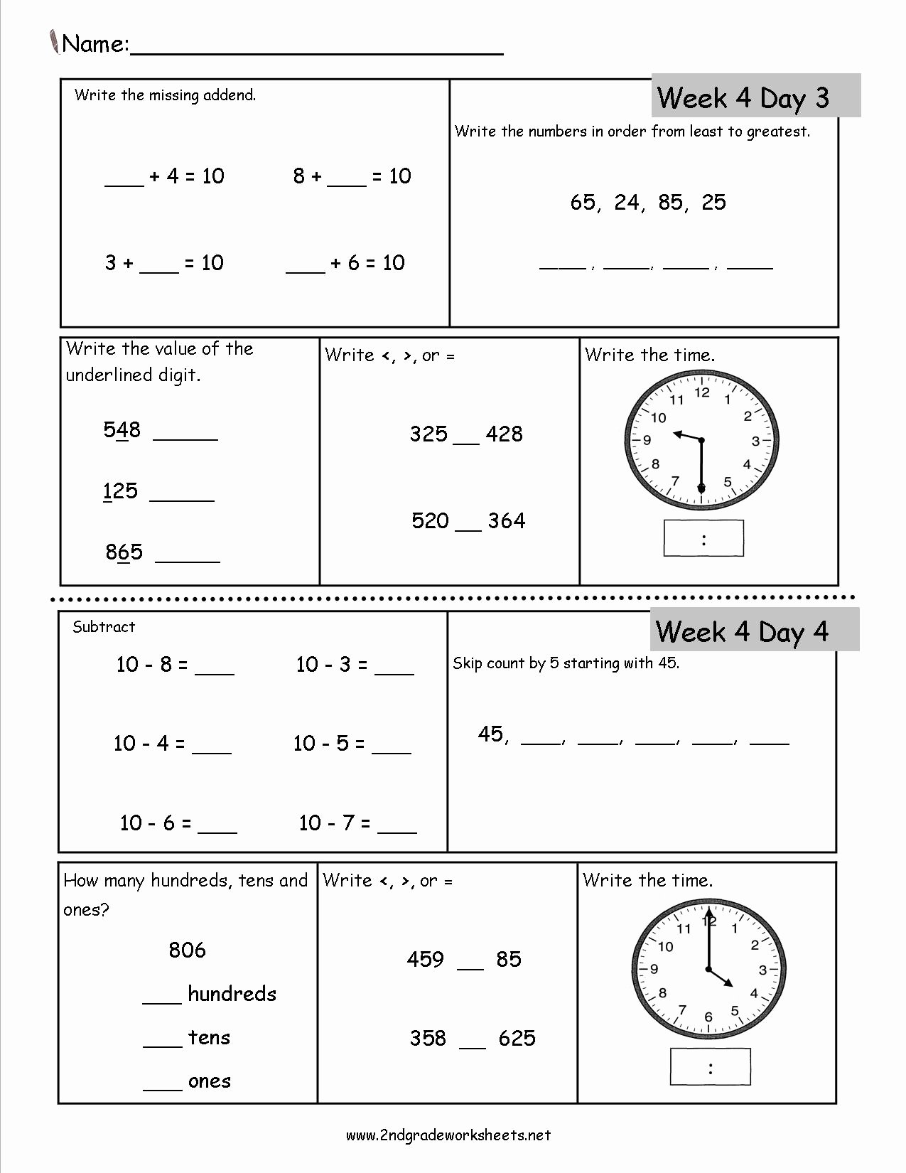 2nd Grade Math Worksheet Pdf Elegant Free 2nd Grade Daily Math Worksheets