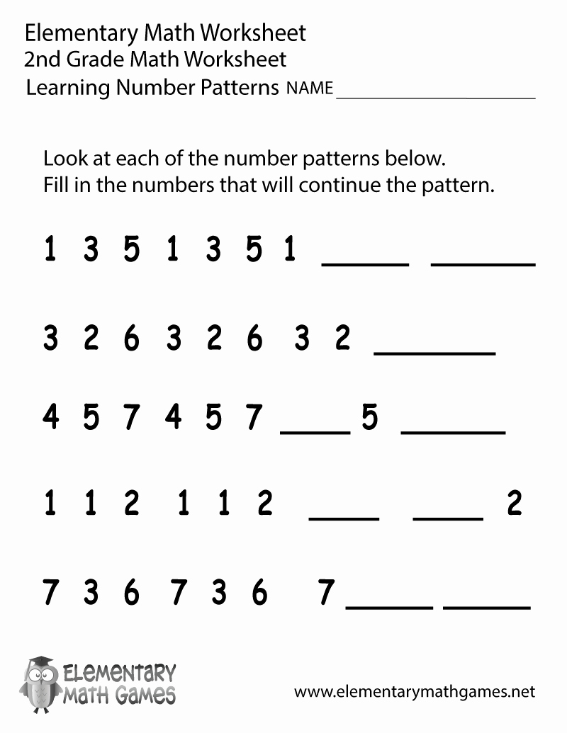 2nd Grade Math Worksheet Pdf Elegant Second Grade Number Patterns Worksheet