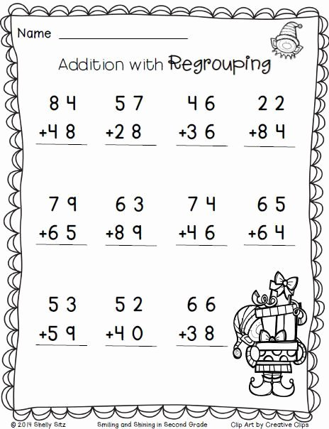 2nd Grade Math Worksheet Pdf Inspirational Christmas Math Addition with Regrouping Free 2nd Grade