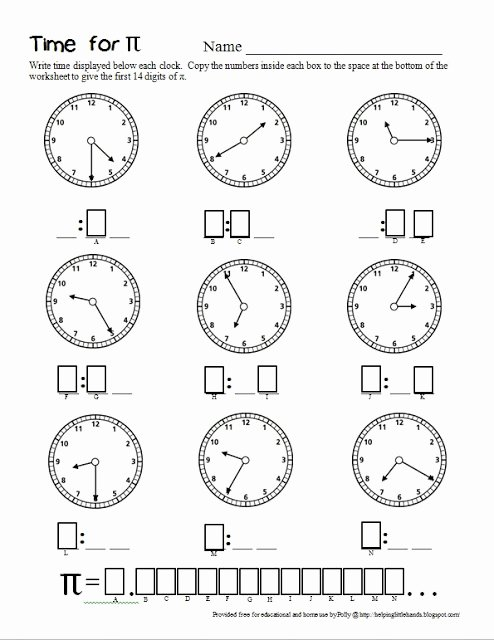 2nd Grade Math Worksheet Pdf Inspirational Pieces by Polly Time for Pi Second Grade Math Worksheet