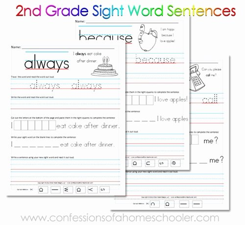 2nd Grade Sight Words Worksheet Luxury 2nd Grade Sight Word Sentences Confessions Of A Homeschooler