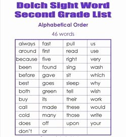 2nd Grade Sight Words Worksheet Unique Second Grade Dolch Sight Words Dolch Lists & Flash Cards