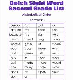 2nd Grade Sight Words Worksheet Unique Second Grade Dolch Sight Words Dolch Lists & Flash Cards