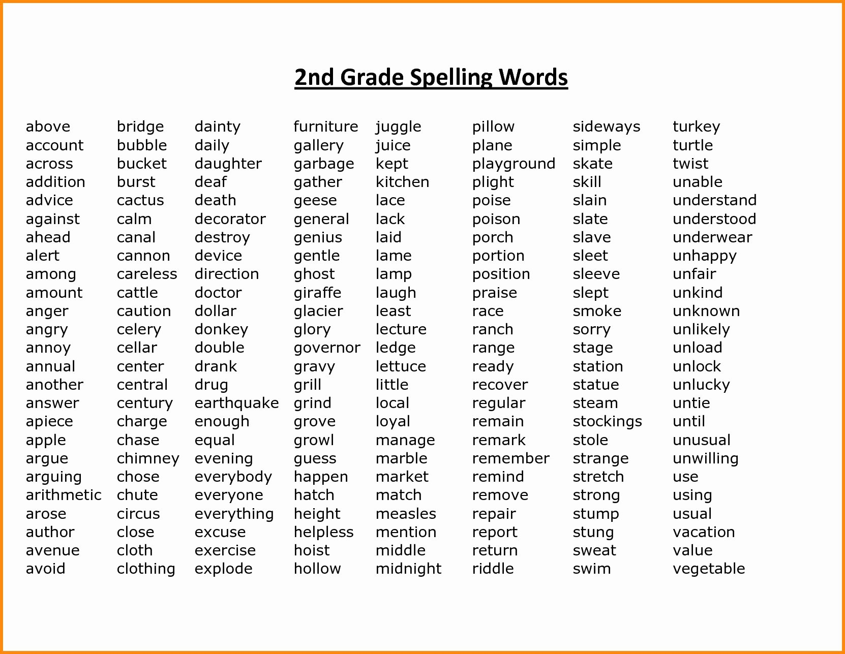 2nd Grade Vocabulary Worksheet Awesome 2nd Grade Spelling Words Best Coloring Pages for Kids