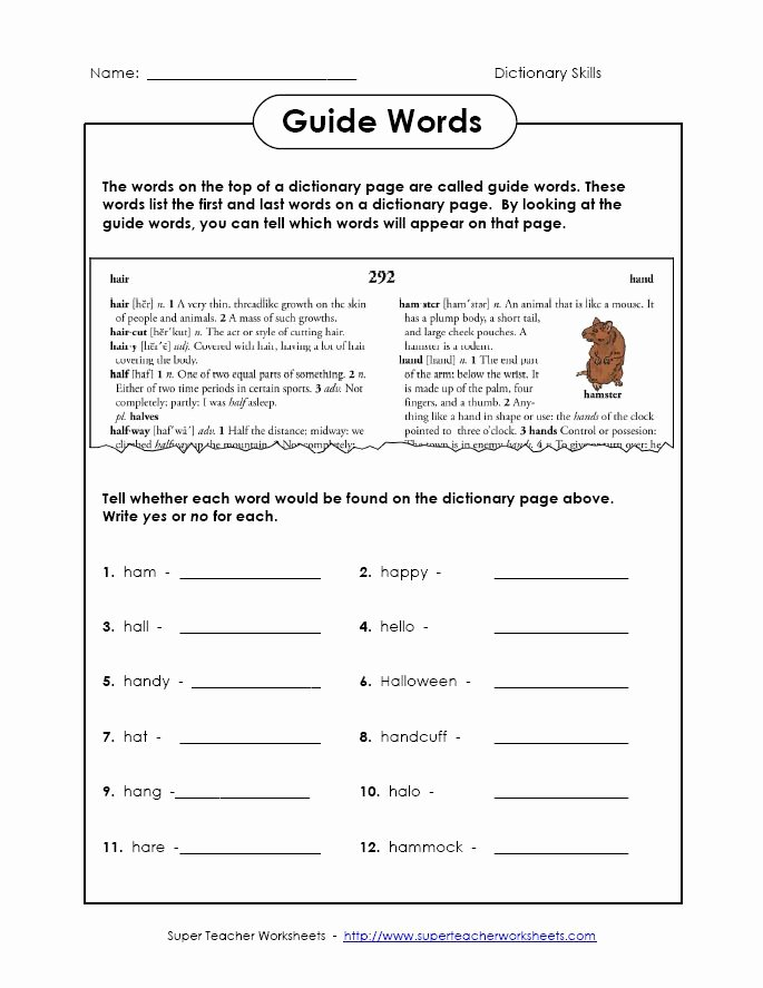 2nd Grade Vocabulary Worksheet Beautiful Dictionary Guide Words Inferencing Worksheet for 2nd