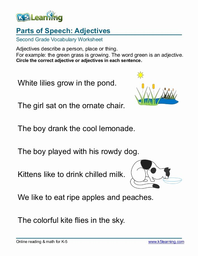 2nd Grade Vocabulary Worksheet Elegant 2nd Grade Circle Adjective 3