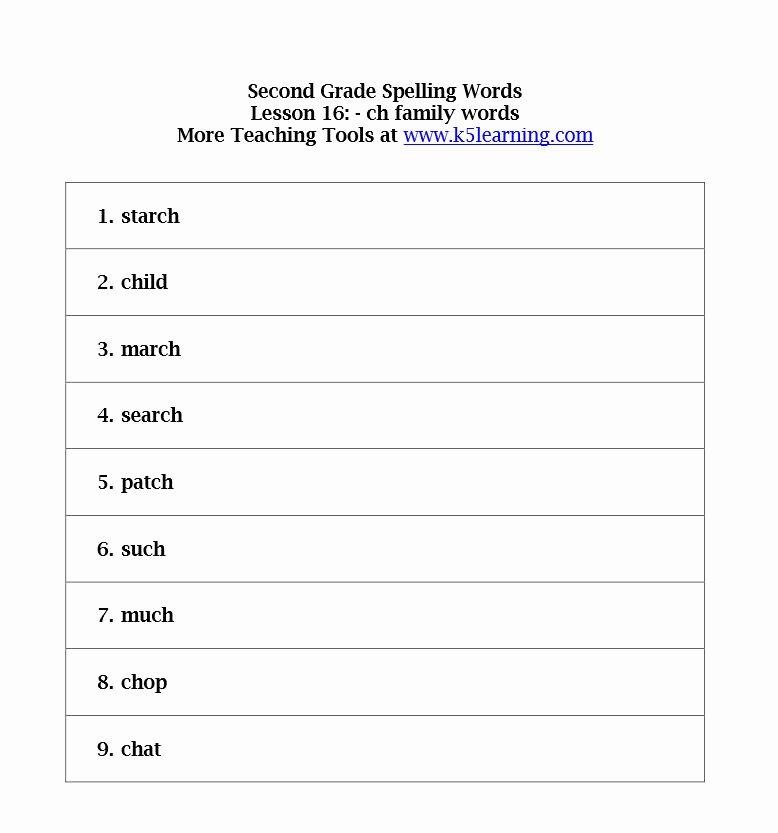 second grade spelling words