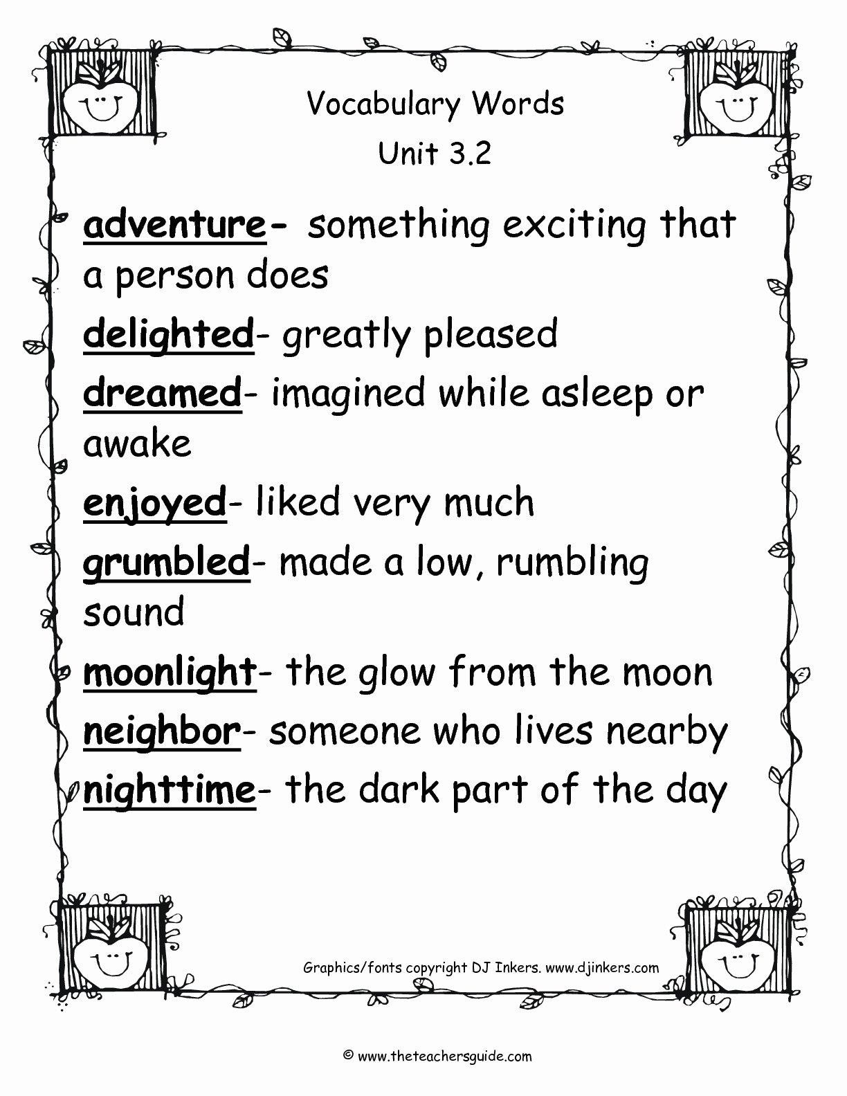 2nd Grade Vocabulary Worksheet Inspirational Wonders Second Grade Unit Three Week Two Printouts