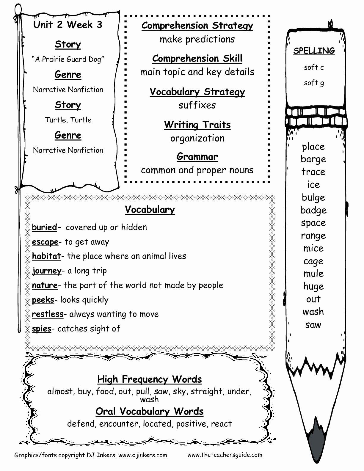 2nd Grade Vocabulary Worksheet Inspirational Wonders Second Grade Unit Two Week Three Printouts