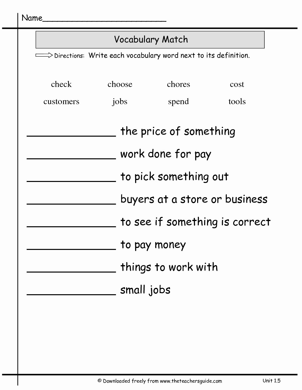 2nd Grade Vocabulary Worksheet Luxury 14 Best Of Matching Definitions to Words Worksheets