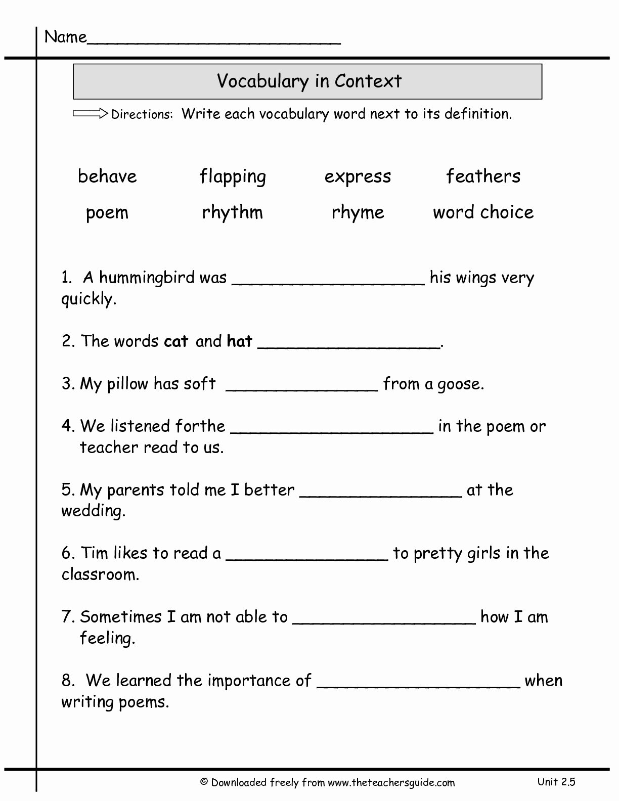 2nd Grade Vocabulary Worksheet New 13 Best Of Vocabulary Practice Worksheets 3rd