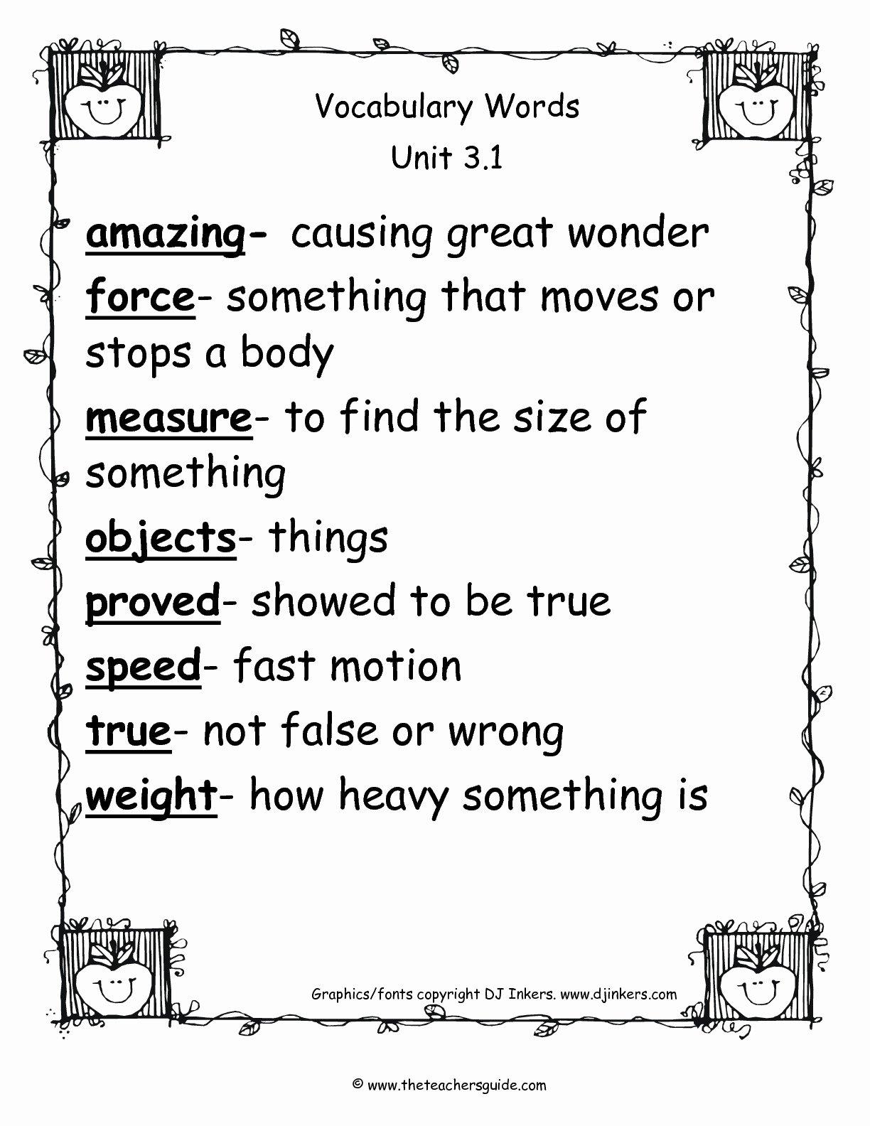 2nd Grade Vocabulary Worksheet Unique Wonders Second Grade Unit Three Week E Printouts
