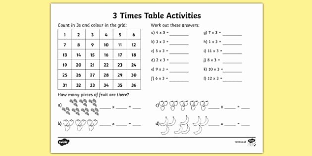 3 Times Table Worksheet Inspirational 3 Times Table Worksheet Activity Sheet 3 Times Tables