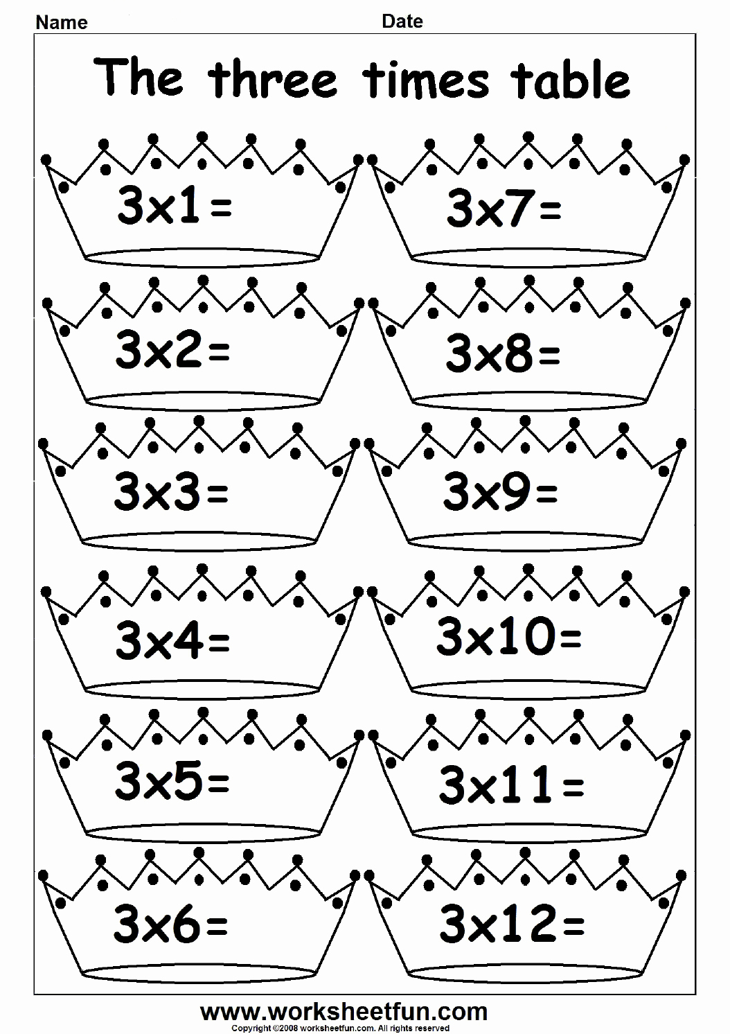 3 Times Table Worksheet Inspirational Multiplication Times Tables Worksheets – 2 3 4 6 7 8