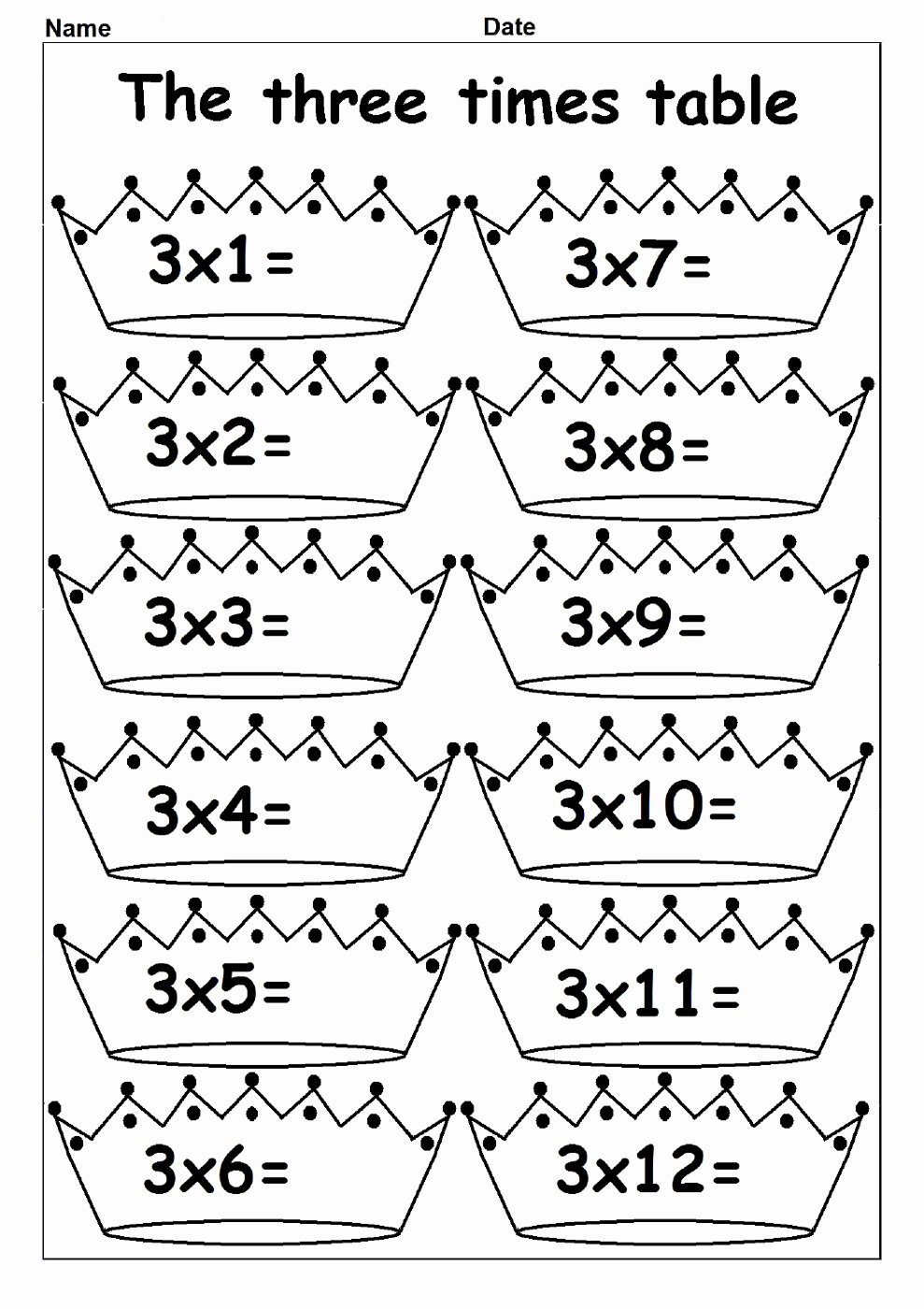 3 Times Table Worksheet Lovely Printable 3 Times Table Chart
