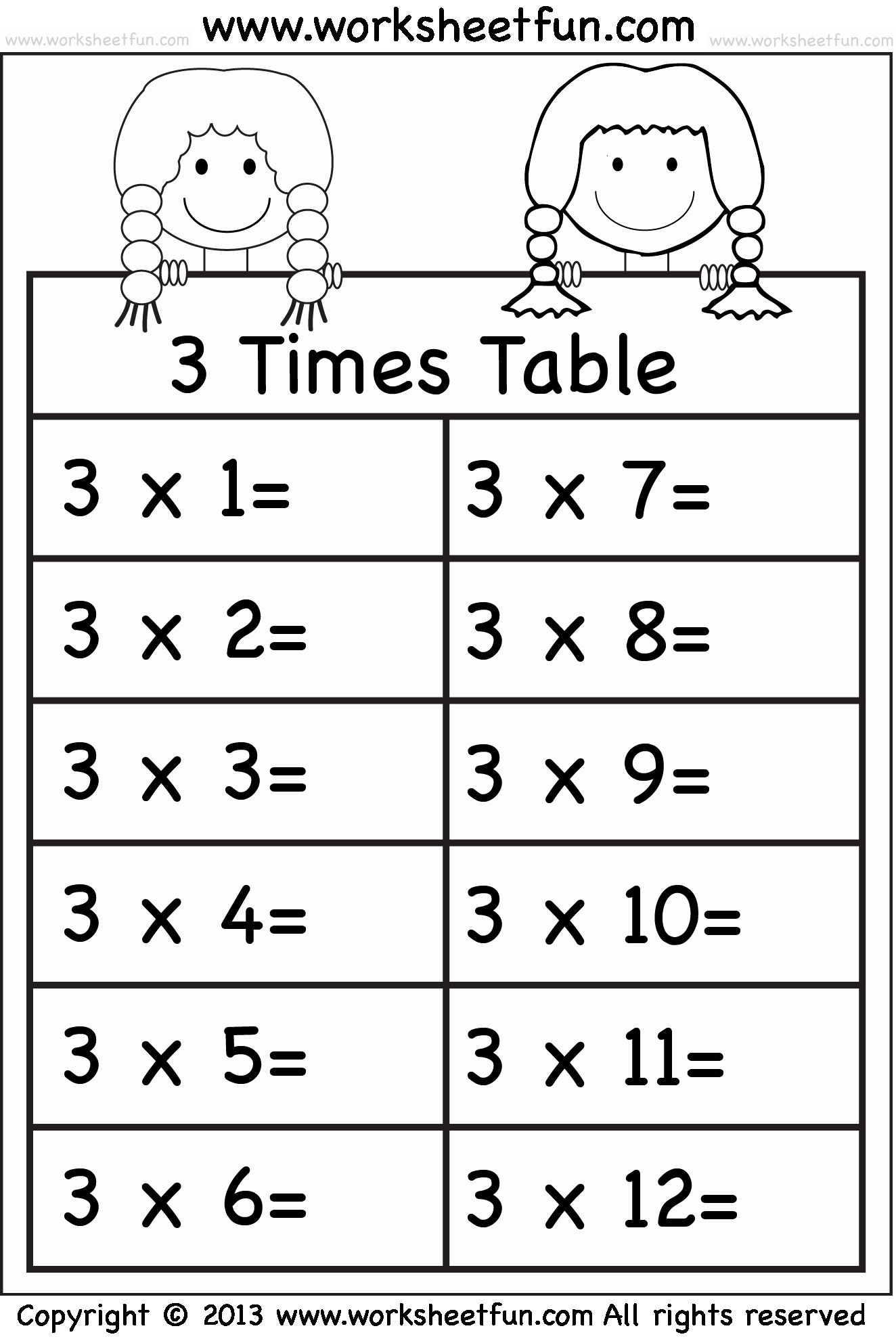 3 Times Table Worksheet New Times Tables Worksheets – 2 3 4 5 6 7 8 9 10 11