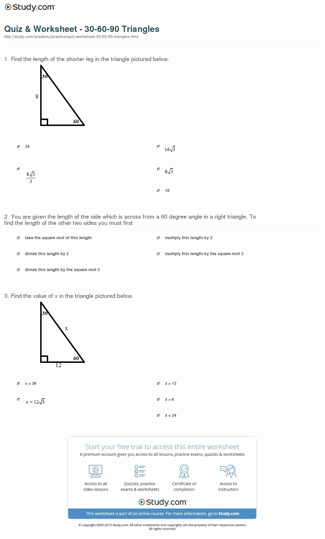 30 60 90 Triangles Worksheet Awesome Quiz & Worksheet 30 60 90 Triangles