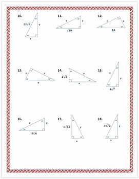 30 60 90 Triangles Worksheet Beautiful Special Right Triangles 30 60 90 Practice Worksheet by Dr